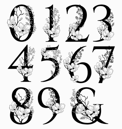 A Vector Hand Drawn floral Numbers monograms and logo
