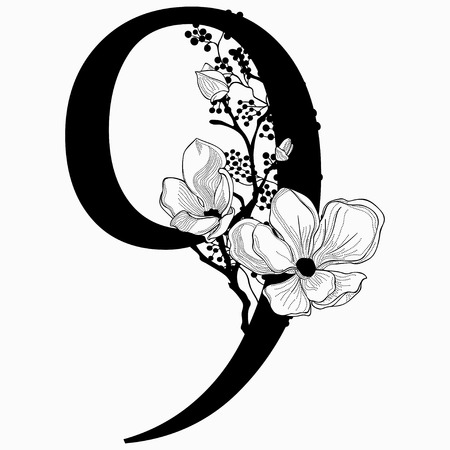 A Vector Hand Drawn floral Number Nine monogram. Numeric 8 with Flowers and Branches, Cherry Blossom. Floral Design Illustration