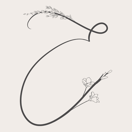 Vector Hand Drawn Flowered E monogram or logo. Uppercase Letter E with Flowers and Branches. Vectores