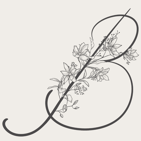 Hand drawn vector flowered b monogram or icon. Uppercase letter b with flowers and branches. Handwritten monogram letter, floral design.