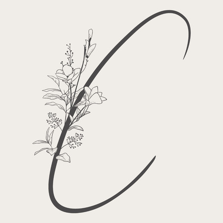 Vector Hand Drawn Flowered C monogram or logo. Uppercase Letter C with Flowers and Branches. Çizim