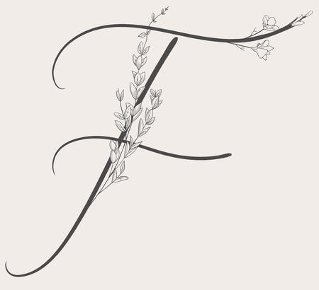 Vector Hand Drawn Flowered F monogram and logo