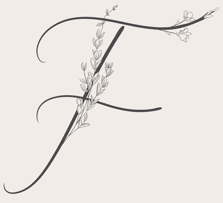 Vector Hand Drawn Flowered F monogram and logo
