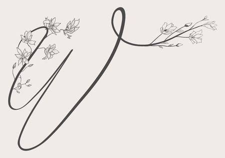 Vector Hand Drawn Flowered Uppercase W monogram