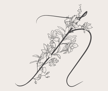 Vector Hand Drawn Flowered N monogram and logo