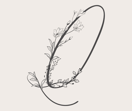 Vector Hand Drawn Flowered Q monogram Vectores
