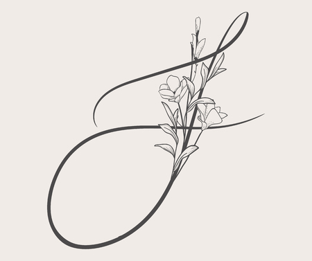 Vector Hand Drawn Flowered S monogram and logo