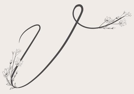 Vector Hand Drawn Flowered Uppercase V monogram