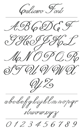 Elegant calligraphy letters with florishes. Handwritten Classic alphabet with swirls and curves. Uppercase and Lowercase letters, numbers, monograms. Hand drawn modern Coliostro Fon script. Illustration