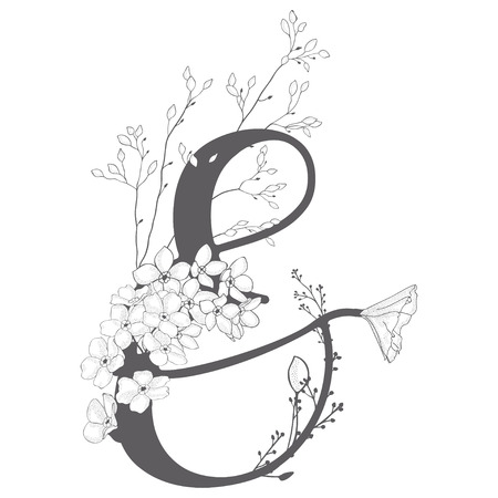 Vector Hand Drawn floral Ampersand monogram and logo Banque d'images - 106298666