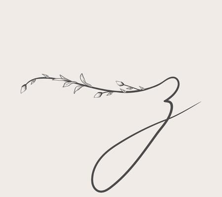 Vector Hand Drawn floral z monogram and logo Illustration