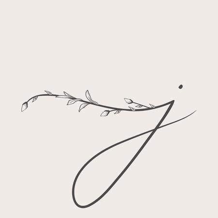 Vector Hand Drawn floral j monogram and logo Illustration