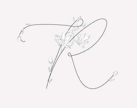 Vector Hand Lettering floral R monogram and logo