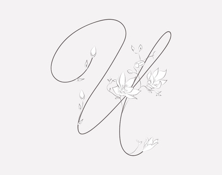 Vector Hand Lettering floral U monogram and logo