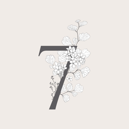 Vector Blooming Floral Number 7 Monogram and Logo