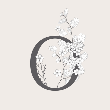 Vector Blooming Floral Number 0 Monogram and Logo