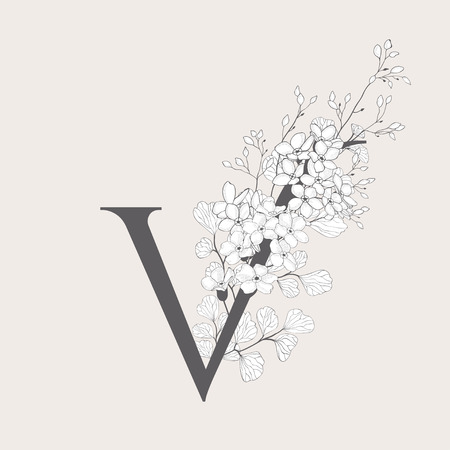 Vector Blooming Floral Initial V Monogram and Logo