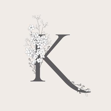 Vector Blooming Floral Initial K Monogram and Logo Ilustração