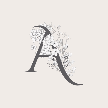 Vector Blooming Floral Initial A monogram or logo. Uppercase Flowered Letter A with Flowers and Branches. Wildflowers. Floral Design Vectores