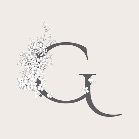 Vector Blooming Floral Initial G monogram or logo. Uppercase Flowered Letter G with Flowers and Branches. Wildflowers. Floral Design