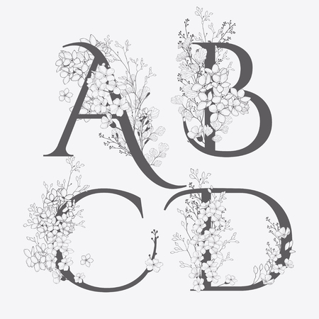 Vector Hand Drawn Flowered monograms. Uppercase Letters A, B, C, D with Flowers and Branches. Wildflowers. Floral Design Illustration