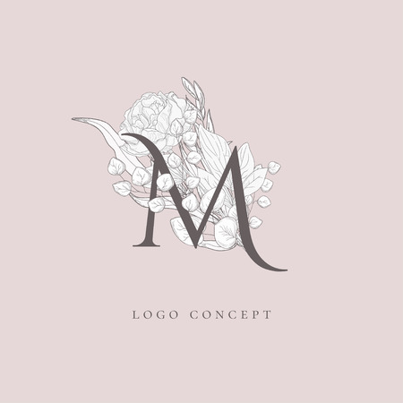 Vector Hand Drawn Flowered M monogram or concept. Uppercase Letter with Flowers and Branches. Wildflowers. Floral Design Branding Foto de archivo - 116055973