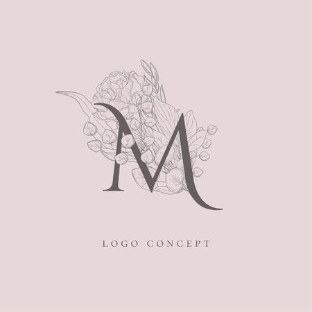 Vector Hand Drawn Flowered M monogram or concept. Uppercase Letter with Flowers and Branches. Wildflowers. Floral Design Branding Illustration
