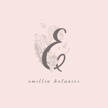 Vector Blooming Floral Initial E Monogram and Logo