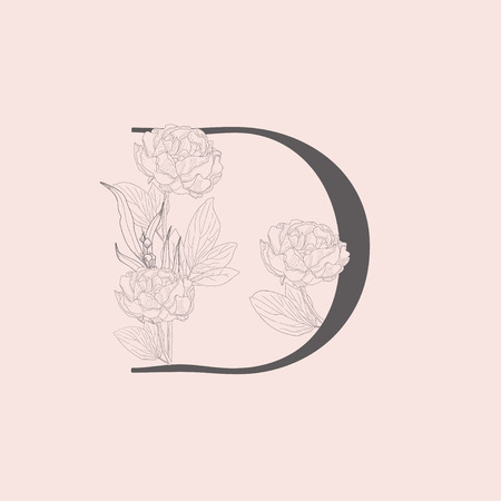 Vector Blooming Floral Initial D Monogram and Logo Vectores