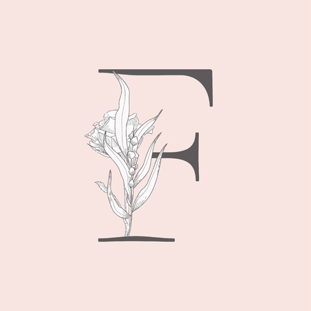 Vector Blooming Floral Initial F Monogram and Logo