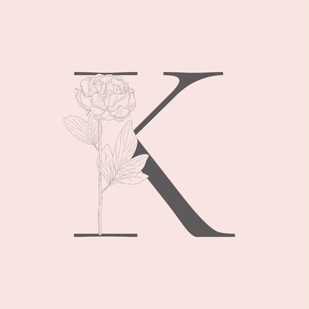 Vector Blooming Floral Initial K Monogram and Logo Çizim