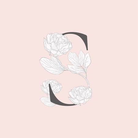 Vector Blooming Floral Initial S Monogram and Logo