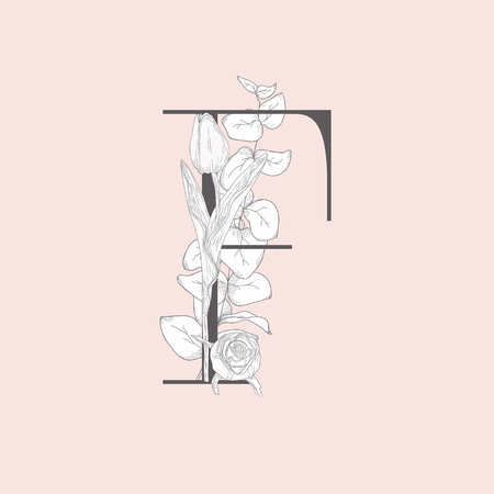 Vector Blooming Floral Elegant F Monogram and Logo