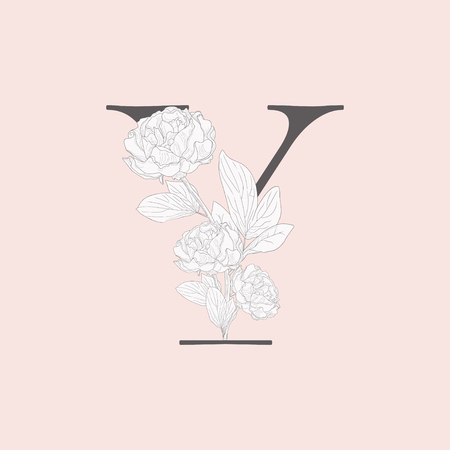 Vector Blooming Floral Initial Y Monogram and Logo