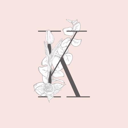 Vector Blooming Floral Elegant K Monogram and Logo