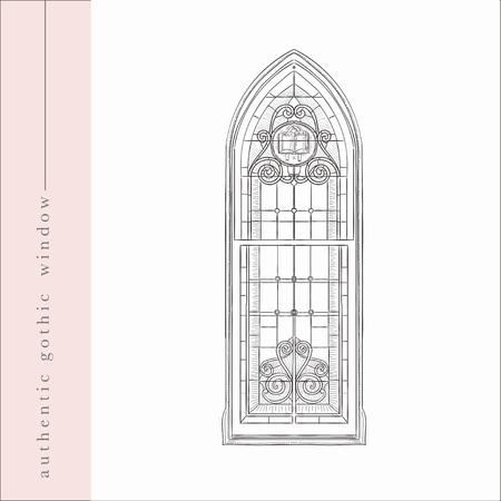 Vector Hand Drawn Old Gothic Window Illustration