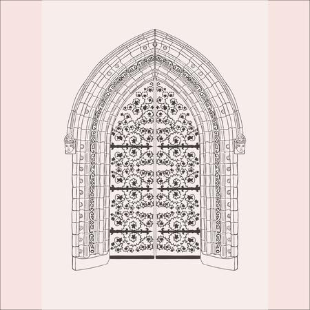Porte gothique. Portes Vintage De Croquis Dessinés à La Main.