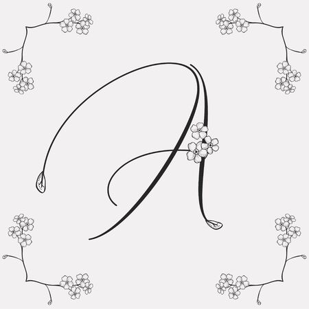 Vector Hand Drawn Flowered A monogram or logo. Uppercase Letter A with Flowers and Branches. Handwritten Monogram Letter. Floral Design. Forget me not