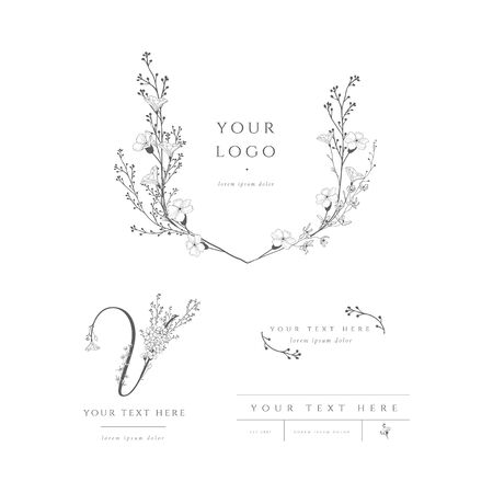 Vector pre-made logo branding kit, floral monogram. Decorated with detailed delicate flowers and brunches. Event planner, wedding planner, photography Stockfoto - 131424484