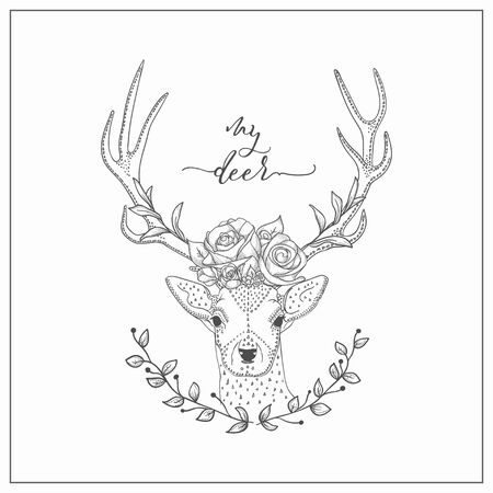 vector hand drawn deer head logo, tattoo. illustration with horns decorated with flowers, roses, branches. scandinavian style Stockfoto - 131424479