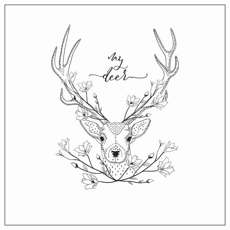 vector hand drawn deer head logo, tattoo. illustration with horns decorated with flowers, branches. scandinavian style