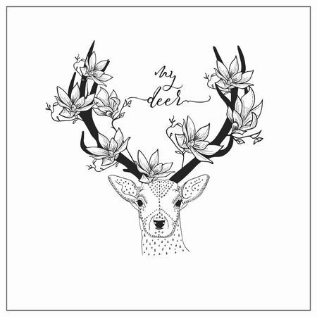 vector hand drawn deer head logo, tattoo. illustration with horns decorated with flowers, branches. scandinavian style Stockfoto - 131424481