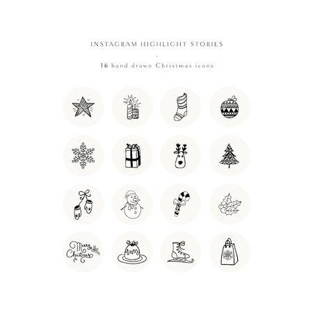 Jeu d'icônes en surbrillance de l'histoire de Noël. Ensemble d'éléments de conception de Doodle de Noël dessinés à la main. conception. Logo pour boutique, boutique, artiste. Logo