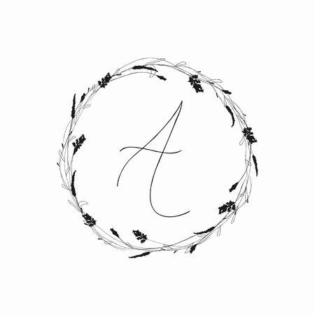 Vector Hand Drawn Doodle Floral Logo Template. Frame, Wreath with Plants, Branches, Laurels, Wildflowers. Design Elements Illustration. Branding. Wedding, photography, art, studio Standard-Bild - 133533072