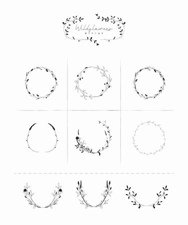 Vector Hand Drawn Doodle Floral Frames and Wreaths Collection, with Plants, Branches, Laurels, Flowers, Wildflowers. Design Elements Illustration. Logo Branding Standard-Bild - 133533074