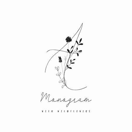 Vector Hand Drawn Doodle Floral Logo Template. Monogram A with Plants, Branches, Laurels, Wildflowers. Design Elements Illustration. Branding. Wedding, photography, art, studio Vettoriali