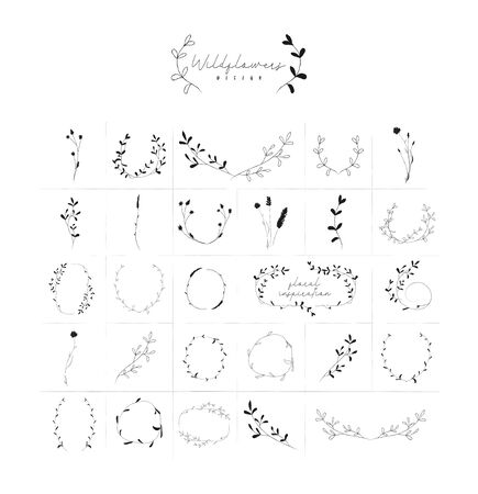 Vector Hand Drawn Doodle Floral Frames and Wreaths Collection, with Plants, Branches, Laurels, Flowers, Wildflowers. Design Elements Illustration. Logo Branding Standard-Bild - 133536351