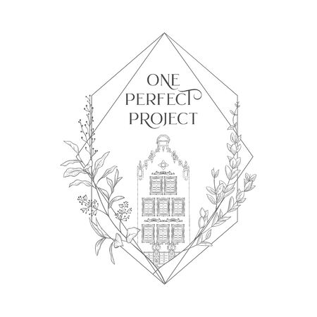 Hand drawn isolated vintage house in geometric frame with floral elements branches, flowers, old town, sketch, doodle. Vector illustration. Logo Branding Simple Line art, outlined, linear