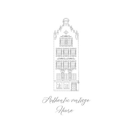 House Hand drawn isolated old home, old town, sketch, doodle. Vector illustration. Logo Branding