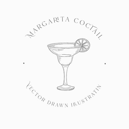 Sketch Margarita Cocktail and Alcohol Drink Vector Hand Drawn Illustration